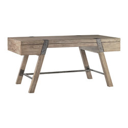 "Lexington - Lexington Barton Creek Wyatt 64"" Table Desk 300BA-410 - The Driftwood gray weathered wood top is perfect with the vintage industrial metal straps and leg supports. The center drawer is ideal for pens, papers and laptop, and the two side drawers are an unexpected surprise, visually hidden in the design."