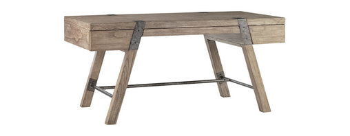 """Lexington - Lexington Barton Creek Wyatt 64"""" Table Desk 300BA-410 - The Driftwood gray weathered wood top is perfect with the vintage industrial metal straps and leg supports. The center drawer is ideal for pens, papers and laptop, and the two side drawers are an unexpected surprise, visually hidden in the design."""