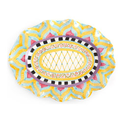 Taylor Large Oval Platter - Hitchcock Field | MacKenzie-Childs - Hitchcock Field, here in Aurora, is filled with wildflowers, Highland cattle, and sunshine. Our Hitchcock Field Large Oval Serving Platter, handcrafted of clay, hand-painted by our artisans, pays tribute with the vibrant colors of summer on the farm: sunburst chevrons of raspberry, mint, and buttercup; petite raspberry-colored blooms and vines; and a latticework center that recalls a summer field neatly planted with corn. Each piece is accented with bold black and white squares and a band of plum. Lively yet relaxed, Hitchcock Field is the perfect design to celebrate the fruits of your own labor after a long, rewarding day in the garden. Peek underneath to see the stamps of each Aurora artisan involved in its creation.