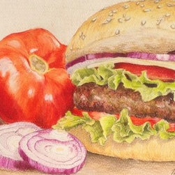 A Colorful Classic (Original) by Megan Doman - Our favorite restaurant gives modern and cultural infusion to their traditional menu items. The hamburger is one of them that I love to order. Capturing the experience and their recipe with vibrant color, texture, and composition, this drawing is sure to liven- up any traditional space!