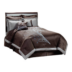 Pem America - Angela Queen Comforter Set with 4 Bonus Pieces - Dominated by a large flowing vine on a chocolate / mocha background makes a dramatic presence in your bedroom.  The comforter is framed with platinum to highlight the dramatic combination of gray and pewter shades.  Angela completes your room with the decorative pieces you need to set your room apart. Queen comforter is 90x90 inches, bed skirt features 15 inch drop with 2 20x26 inch pillow shams, 16x16 inch square pillow, 16x12 inch pillow and 2 euro shams. 100% polyester. Dry clean only.