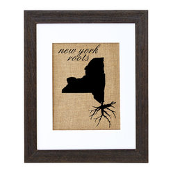 Fiber and Water - New York Roots Art - Proud of your roots? Then let them show! This clever silhouette printed on natural burlap gives an earthy, nostalgic shout-out to your native soil. It comes ready to hang in a distressed black wood frame and contrasting white matte.