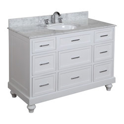 Kitchen Bath Collection - Amelia 48-in Bath Vanity (Carrara/White) - This bathroom vanity set by Kitchen Bath Collection includes a white traditional-style cabinet with soft close drawers, Italian Carrara marble countertop with stunning beveled edges, single undermount ceramic sink, pop-up drain, and P-trap. Order now and we will include the pictured three-hole faucet and a matching backsplash as a free gift! All vanities come fully assembled by the manufacturer, with countertop & sink pre-installed.