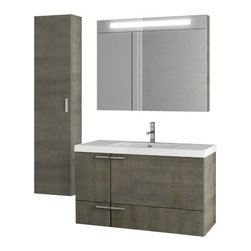 ACF - 39 Inch Grey Oak Bathroom Vanity Set - Make your bathroom the center of attention with this beautifully designed Italian vanity set.