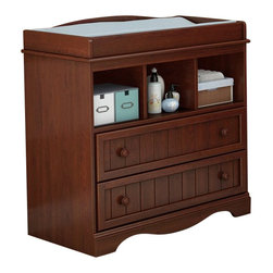 South Shore - South Shore Savannah Changing Table in Royal Cherry - South Shore - Baby Changing Tables - 3546330 - This country style changing table in a royal cherry finish features rounded contours for your baby's safety and comfort. The 2 practical drawers are equipped with matching wooden knobs and the 3 open storage compartments keep baby products within reach. A