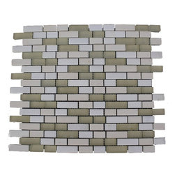FUSION GOBI DESERT 1/2X2 GLASS & MARBLE MOSAIC TILES - This beautiful stone mosaic blend of glass and stone tile gives a modern ambience without forgetting its past. It is a blend of polished and frosted cream glass with beige limestone and White Thassos.