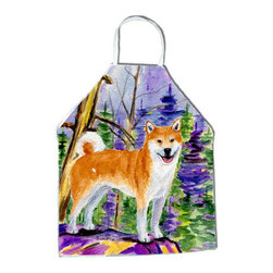 Caroline's Treasures - Shiba Inu Apron SS8629APRON - Apron, Bib Style, 27 in H x 31 in W; 100 percent  Ultra Spun Poly, White, braided nylon tie straps, sewn cloth neckband. These bib style aprons are not just for cooking - they are also great for cleaning, gardening, art projects, and other activities, too!