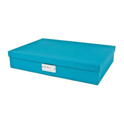 Bigso - Bigso Basix Document Box - Turquoise, Large - We're not only stacking jewelry this season. Stack up storage and mix and match colors with our turquoise Basix Document boxes. Store legal size paper, thank you notes, labels, stamps, receipts and artwork. Metal label holders remind you of what's stored inside.