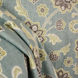 Braemore - Ankara Pond Blue Green Jacobean Linen Fabric By The Yard - Ankara Pond is a Braemore Fabric. This Floral Jacobean is blue, green and grey. Great for draperies, bedding, pillows and upholstery.