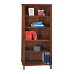 "Bush - 5-Shelf Office Bookcase in Hansen Cherry - So - Create an atmosphere of organization in your office with this handsome Somerset five-shelf Bookcase in a Savannah Beech Wood finish.  It is designed to allow for multiple storage options with two fixed shelves for stability and three adjustable shelves for flexibility. * Two fixed shelves for cabinet strength. Three adjustable shelves for storage versatility. Tapered legs with metallic finish. Matches the height of Hutch and ""L""  Desk. 29.567 in. W x 12.795 in. D x 65.236 in. H"