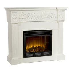 """Holly & Martin - Holly & Martin Huntington Electric Fireplace-Ivory X-81-6-320-131-73 - Crisp is the perfect description for this traditional ivory fireplace. Fluted side columns and an elegant floral design across the mantel draw attention to this classic, electric fireplace. This beautiful mantel is finished off with understated molding that complements the design fabulously. The firebox has realistic, multicolor flickering flames and glowing embers with an interior brick design for a more lifelike look.  This electric fireplace features energy efficient LED and requires no professional installation, making it a cost effective way to upgrade your living or media room. Easy to use remote control offers 4-way adjustability to warm the room conveniently. Safety features include automatic shutoff and glass that remains cool to the touch. Turn off the heat to enjoy the fireplace ambience year round!  - FEATURES:                                                                                             - Accommodates a flat panel TV up to 42.5"""" W overall                                                    - Elegant floral trim                                                                                   - Clean, ivory finish                                                                                   - PRODUCT SPECIFICATIONS:                                                                               - Approx. weight: 101 lb.                                                                               - Supports up to: 85 lb. (mantel)                                                                       - Materials: veneer, MDF, metal, glass, resin                                                           - Assembly required                                                                                     - Overall: 44.5"""" W x 14.5"""" D x 40.25"""" H                                                                   - FIREBOX:                                     """