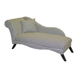 """Skyline Furniture - Cosmo Chaise Lounge - Hollywood Glam - Houndstooth Multicolor - 9087VBRNEBLK - Shop for Chaises from Hayneedle.com! We're pretty sure if you set an old rotary-style phone next to the Cosmo Chaise Lounge - Hollywood Glam - Houndstooth you'd be saying """"dahhhling"""" within the minute because the effect would be so uncannily Old Hollywood. That's the beauty of this chaise lounge which features a classic lounger silhouette covered in 100% cotton upholstery in a to-die-for black and white houndstooth pattern. The wood frame features tapered legs in a black finish and the seat sits 16 inches from the floor. Upholstery is spot-clean only.About Skyline Furniture Manufacturing Inc.Skyline Furniture was founded in 1948 with the goal of producing stylish affordable quality furniture for the home. After more than 50 years this family-run business is still designing and manufacturing unique products that meet the ever-changing demands of the modern home furnishing industry. Located in the south suburbs of Chicago the company produces a wide variety of innovative products for the home including chairs headboards benches and coffee tables."""