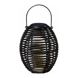 Kenroy Home - Kenroy Home Coil Solar Lantern, Black - 60530RAT - A great outdoor decor accent by day and an instant table top or hanging light source by night. These lanterns feature a removable circular solar disc which when placed in optimal sun location will constantly store a charge to the included NiMH internal battery and provide hours of nighttime lighting for those relaxing evenings on your patio or deck. Includes powder coated wire handle for hanging. Black Finish