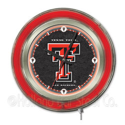 Holland Bar Stool - Holland Bar Stool Clk15TXTech Texas Tech Neon Clock - Clk15TXTech Texas Tech Neon Clock belongs to College Collection by Holland Bar Stool Our neon-accented Logo Clocks are the perfect way to show your school pride. Chrome casing and a team specific neon ring accent a custom printed clock face, lit up by an brilliant white, inner neon ring. Neon ring is easily turned on and off with a pull chain on the bottom of the clock, saving you the hassle of plugging it in and unplugging it. Accurate quartz movement is powered by a single, AA battery (not included). Whether purchasing as a gift for a recent grad, sports superfan, or for yourself, you can take satisfaction knowing you're buying a clock that is proudly made by the Holland Bar Stool Company, Holland, MI. Clock (1)