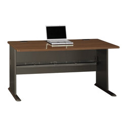 "Bush - Bush Series A 60"" Desk in Sienna Walnut/Bronze - Bush - Computer Desks - WC25560 - Bush Series A offers the flexibility to grow with you as your office or business grows."