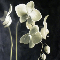 Noa's Art Inc - Black White and Sage Orchid Oil Painting - This is a 36x48 inches, vertical, hand made oil painting, elegant and contemporary, painted on high quality canvas.