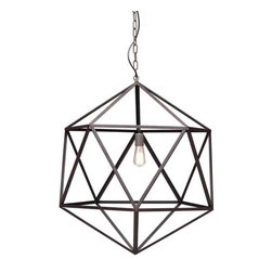 ZUO PURE - Amethyst Ceiling Lamp Large Rust - Classic triangular forms create the beautiful symmetry of the Amethyst ceiling lamp. Constructed of sturdy steel in an industrial finish with an aged patina. One 40w bulb included. The lamp is UL approved.