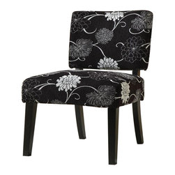 Coaster - Coaster Accent Chair in Floral Black and White - Coaster - Accent Chairs - 902048 - You'll have a pleasing and interesting addition for your living area bedroom or home office decor with this accent chair. The piece carries multiple fabric designs to choose from and features square tapered legs for a truly unique appearance. There will be a lot to like with this accent chair in your home.