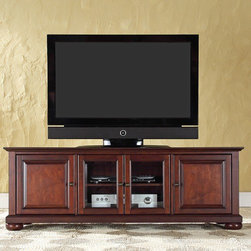 """Crosley - Alexandria 60"""" TV Stand - Enhance your living space with Crosley's impeccably-crafted low profile TV stand. This signature cabinet accommodates most 60'' flat panel TVs, and is handsomely proportioned featuring character-rich details sure to impress. Perfect for blending with the family of furniture that is already part of your home. Panel doors strategically conceal stacks of CD/DVDs, and various media paraphernalia. Tempered glass doors not only add a touch of class; they protect those valued electronic components, while allowing for complete use of remote controls. Adjustable shelving offers an abundance of versatility to effortlessly organize by design, while cord management tames the unsightly mess of tangled wires. Style, function, and quality make this cabinet a wise choice for your home furnishings needs. Features: -Beautiful raised panel doors.-Three adjustable shelves.-Beveled tempered glass.-Adjustable levelers in legs.-Recommended TV Type: Flat screen.-TV Size Accommodated: 60"""".-Powder Coated Finish: No.-Gloss Finish: No.-Material: Hardwood and veneers.-Solid Wood Construction: No.-Distressed: No.-Drawers: No.-Cabinets: Yes -Number of Cabinets: 1.-Number of Doors: 2.-Door Attachment Detail: Pin hinge.-Interchangeable Panels: No.-Magnetic Door Catches: Yes.-Cabinet Handle Design: Knob.-Number of Interior Shelves: 1.-Adjustable Interior Shelves: Yes..-Scratch Resistant : No.-Removable Back Panel: No.-Hardware Finish (Finish: Black): Brushed nickel knobs, steel hardware.-Hardware Finish (Finish: Classic Cherry, Vintage Mahogany): Antique brass knobs, steel hardware.-Casters: No.-Accommodates Fireplace: No.-Fireplace Included: No.-Lighted: No.-Media Player Storage: Yes.-Media Storage: No.-Cable Management: Hole in back for wires.-Remote Control Included: No.-Batteries Required: No.-Weight Capacity: 200 lbs.-Swatch Available: No.-Commercial Use: No.-Collection: Alexandria.-Eco-Friendly: No.-Recycled Content: No.-Lift Mechanism: No.-Expandable: No.-T"""