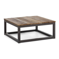 Zuo Modern - Zuo Civic Center Square Coffee Table in Distressed Natural - Civic Center Square Coffee Table in Distressed Natural by Zuo Modern Long and thick elm wood planks are fused together on top an antiqued metal base. Add an industrial touch to your living space. Some assembly is required Square Coffee Table (1)