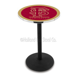 Holland Bar Stool - Holland Bar Stool L214 - Black Wrinkle Florida State (Script) Pub Table - L214 - Black Wrinkle Florida State (Script) Pub Table belongs to College Collection by Holland Bar Stool Made for the ultimate sports fan, impress your buddies with this knockout from Holland Bar Stool. This L214 Florida State (Script) table with round base provides a commercial quality piece to for your Man Cave. You can't find a higher quality logo table on the market. The plating grade steel used to build the frame ensures it will withstand the abuse of the rowdiest of friends for years to come. The structure is powder-coated black wrinkle to ensure a rich, sleek, long lasting finish. If you're finishing your bar or game room, do it right with a table from Holland Bar Stool. Pub Table (1)