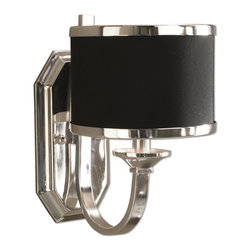 Uttermost - Tuxedo Black Wall Sconce - Sleek Silver Arms And Smart Black Shading Make This Distinctive Family Unique. Silver Plated Metal With A Black Hardback Shade. Number Of Lights: 1, Shade Size: Height: 5, Width: 7, Depth: 7, Voltage: 110, Wattage: 60w, Bulbs Included: No