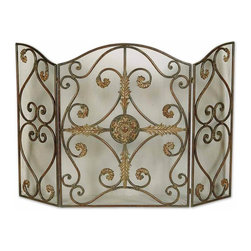 Uttermost - Brown Fireplace Screen Made Forged Metal Wire Mesh Panels Home Decor - Brown lovely and unique fireplace screen made of hand forged metal with wire mesh panels home accent decor