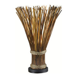"Kenroy Home - Kenroy Home 21066 Floral Single Light 25"" Faux Reed Hidden Table Lamp from the S - Floral Single Light 25"" Faux Reed Hidden Table Lamp from the Sheaf CollectionTruly unique, Sheaf initially appears to be a gathered bundle of reeds, but its fanned top conceals a hidden light that gently illuminates the warm finish.  The effect can be country or nautical, but always stands out.Features:"
