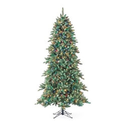 Slim Regency Evergreen Pre-Lit Christmas Tree - THE SLEEK CHARM OF THE SLIM REGENCY EVERGREEN PRE-LIT CHRISTMAS TREE | Enliven your holiday home with the radiant character of the Slim Regency Evergreen Pre-Lit Christmas Tree. Sleek and stylish, this narrow version of the classic Regency Evergreen decorates your living spaces without taking too much room. Displaying a bluish undertint, it offers the perfect backdrop for your beloved ornaments.