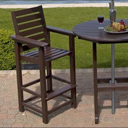 Fifthroom - POLYWOOD Captain Bar Stool - You would have quite a tough time finding a more attractive set than our Captain Bar Stool, when you pair it with one of our Bar Tables.  Furthermore, it would be almost impossible to find any outdoor furniture that's as strong and durable.  That's because this Bar Stool is made from Polywood, a synthetic material that's nearly indestructible.  Since it's available in six spectacular colors, you'd also have a hard time finding outdoor furniture that's easier to coordinate with your d�cor.