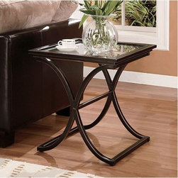 """Wildon Home � - Enola End Table - With its distressed finish and sleek modern design, the Vogue End Table will bring a distinct style to your home. The metal frame is finished in black with the edges rubbed away to show the copper finish below. The base of this sturdy end table consists of a curved ''X'' which supports the solid top frame with inlaid glass. Features: -Sleek, modern curved design.-Solid metal construction with a solid top frame with inlaid glass.-Distressed black finish with copper accents.-Enola collection.-Collection: Enola.-Top Finish: Black.-Base Finish: Black.-Distressed: Yes.-Powder Coated Finish: No.-Gloss Finish: No.-Base Material: Metal.-Top Material: Metal; Glass.-Number of Items Included: 1.-Hardware Material: Metal.-Nesting Tables: No.-Non-Toxic: No.-UV Resistant: No.-Scratch Resistant: No.-Stain Resistant: No.-Lift Top: No.-Storage Under Table Top: No.-Drop Leaf Top: No.-Magazine Rack: No.-Built In Clock: No.-Drawers Included: No.-Hardware Finish: Black.-Exterior Shelves: No.-Cabinets Included: No.-Glass Component: Yes -Tempered Glass: Yes.-Beveled Glass: No.-Frosted Glass: No..-Legs Included: No.-Casters: No.-Lighted: No.-Stackable: No.-Adjustable Height: No.-Outdoor Use: No.-Swatch Available: No.-Commercial Use: No.-Recycled Content: No.-Eco-Friendly: No.-Product Care: Wipe clean with a dry cloth.-Built In Outlets: No.-Powered: No.Specifications: -FSC Certified: No.-EPP Compliant: No.-ISTA 3A Certified: No.-ISTA 1A Certified: No.-General Conformity Certificate: No.-Green Guard Certified: No.-ISO 9000 Certified: No.-ISO 14000 Certified: No.-UL Listed: No.Dimensions: -Overall Height - Top to Bottom: 24"""".-Overall Width - Side to Side: 22"""".-Overall Depth - Front to Back: 22"""".-Table Top Width - Side to Side: 22"""".-Overall Product Weight: 31 lbs.-Legs: No.Assembly: -Assembly Required: Yes.-Additional Parts Required: No.Warranty: -Product Warranty: 1 Year limited manufacture warranty."""