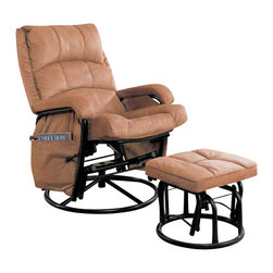 """Adarn Inc - Casual Brown Glider Recliner with Matching Ottoman Set - This glider recliner with matching ottoman instantly makes any room in your home more inviting. A plush pillow back includes a pillow style headrest that invites you to sit back and recline in style. Arm rests wrapped around a steel base provide a cozy contrast to the cold black base and provide a welcoming resting place when reclining. The matching ottoman offers the same plush seat and gliding functionality of the chair. A hanging bag keeps magazines, books, remotes and eyeglasses close at hand for added convenience. A warm tan upholstery wraps the entire piece for a neutral look that blends with nearly every style. Place in a corner with an end table and lamp for an ultra cozy reading nook, or group with your sofa or couch for a stylish accent to existing decor.Ottoman:17""""L x 18""""D x 14.5""""H"""