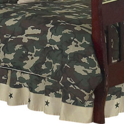 Sweet Jojo Designs - Green Camouflage Bed Skirt - The Green Camouflage Skirt by Sweet Jojo Designs helps complete the look of your child's room. This skirt, or dust ruffle, adds the finishing touch while conveniently hiding under-the-bed storage.