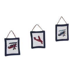 Sweet Jojo Designs - Aviator Wall Decor - The Aviator Wall Decor by Jojo Design include 3 wall hangings that will add a designers touch to any childs room! These childrens wall hangings are handcrafted with care and will brighten any childs room or nursery.