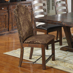 Emerald Home - Emerald Home Castlegate Host Upholstered Dining Chair - Set of 2 Multicolor - EM - Shop for Dining Chairs from Hayneedle.com! The Emerald Home Castlegate Host Upholstered Dining Chair - Set of 2 adds a touch of traditional elegance to your country dining set. Heading the table in stately style this set of dining chairs is upholstered in a rich pattern of brown and gold. Expertly crafted of solid pine the frame is weathered in a darkened natural finish. Chair dimensions: 20W x 23.5D x 42H inches.Durable versatile and inherently strong pine is a popular wood for home furnishings. Pine is a softwood with a naturally coarse grain and in the Castlegate line this rustic texture is enhanced by its weathered brown finish.About Emerald Home FurnishingsFounded in 1962 Emerald Home Furnishings supplies to home furniture retailer throughout the United States Canada Mexico Australia Japan Taiwan England and other countries. The company originally started as a distributor of bed frames and furniture and over the years has added a number of high-quality items to its product line. The company's mission is to strive for innovation integrity and excellent service.
