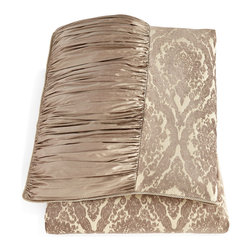 """SWEET DREAMS - Queen Monticello Chenille & Ruched Silk Duvet Cover 92"""" x 96"""" - TAUPE (QUEEN) - SWEET DREAMS INCQueen Monticello Chenille & Ruched Silk Duvet Cover 92"""" x 96"""""""
