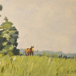 Horse In Field (Original) by Brian Mccarty - I was on vacation and saw my father-in-law's horse heading toward the stable.