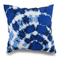 Indoor/Outdoor Blue and White Tie-Dye Print Throw Pillow 18 in. - Beautifully accent your home inside or out in groovy style with this vivid blue and white tie dye throw pillow that's perfect for your living room sofa, the Adirondack chair on the patio or the chaise lounge in your garden oasis. The 100% polyester cover is water repellent and is filled with 100% polyester fiber. Measuring 18 inches high by 18 inches long (46 cm by 46 cm), it would look amazing by a pool area, in the guest room or just tossed on the bed, and is recommended to dry clean or spot clean only. This bright and cheerful throw pillow would make an excellent housewarming gift for any tie dye fans!