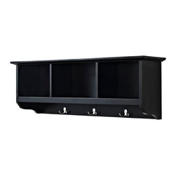 Crosley - Brennan Entryway Storage Shelf in Black - The Brennan Wall unit will bring sophistication and function to your entryway. Features open shelves for storing hats and the like. Four hooks are perfect for hanging a family of coats and jackets. Well suited for a number of decors and available in three finishes.