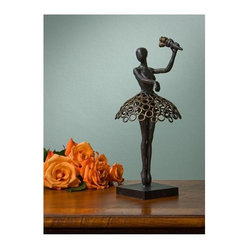 """Dessau Home - Ballerina Sculpture in Bronze - Made from iron. 14 in. HValue has always been an essential ingredient at Dessau Home. """"Essentials"""" represents a collection of well-appointed yet affordable home furnishings with a unique traditional styling that appeals to most transitional and contemporary home decorating needs."""