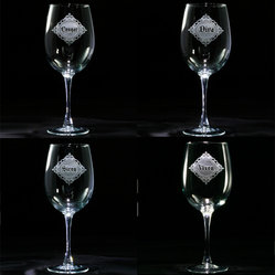"Crystal Imagery, Inc - Confident Woman Wine Glass Set of 4 - Flaunt your feminine flair with these elegantly engraved wineglasses that let everyone know just who they're dealing with. Proudly labeled Diva, Cougar, Siren and Vixen, they set a fun and sassy mood for an evening of revelries. The perfect gift for the ""Real Housewives"" of your city!"
