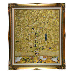 """overstockArt.com - Klimt - Tree of Life (Luxury Line) - 20"""" X 24"""" Oil Painting On Canvas This painting is part of our """"Luxury Line"""". It is made of the same hand painted oils on canvas, with the addition of beautifully hand embellished gold and silver accents. Exclusive only to our highest quality reproductions. Created in 1909 by artist Gustav Klimt, Tree of Life has been recreated to almost exact detail of the original. Artistic swirls, colors and lots of allegory give this painting many levels of meaning. Klimt, born in 1862 in Austria, was one of the most controversial painters of the early 20th century. He attended the Vienna School of Arts and Crafts where he studied to become an architectural painter. Klimt ended up becoming famous for his paintings that used romance, lust and women as its subject matter. These often garnered controversy from critics. His """"golden phase,"""" where he used gold leaf in his paintings produced some of his most famous works, including The Kiss and Portrait of Adele Bloch-Bauer . His paintings can be easily recognized by their use of color and use of spirals and swirls. Enjoy the versatility of the Tree of Life painting when it hangs in your home or office. Gustav Klimt (1862-1918) was one of the most innovative and controversial artists of the early twentieth century. Influenced by European avant-garde movements represented in the annual Secession exhibitions, Klimt's mature style combines richly decorative surface patterning with complex symbolism and allegory, often with overtly erotic content. This work of art has the same emotions and beauty as the original. Why not grace your home with this reproduced masterpiece? It is sure to bring many admirers!"""