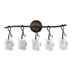 Kathy Kuo Home - Somerset Wrought Iron Organic Sculpted 5 Light Vanity - Industrial and rustic elements come together in this trio of lights to form a feminine, organic fixture that would be perfect in a lodge or loft.  Frosted glass is gently 'folded' over the light bulbs, which hang from stems of iron.