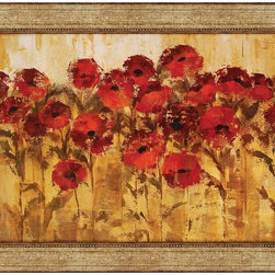 """Paragon Decor - Sunshine Florals Artwork - Brighten up those boring walls with this colorful piece, """"Sunshine Florals"""" which depicts an artist's rendering of a patch of crimson and carmine flowers reaching unavailingly to the sun. The flowers contrast against a background of amber and saffron golds, making them appear to leap off the canvas. This piece measures unmatted, but surrounded by an antiqued gold frame. This piece measures 43 inches wide, 1 inch deep, and 31 inches high."""