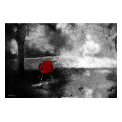 """Maxwell Dickson - Maxwell Dickson """"Red Chair"""" Canvas Art Print Artwork Modern Abstract - We use museum grade archival canvas and ink that is resistant to fading and scratches. All artwork is designed and manufactured at our studio in Downtown, Los Angeles and comes stretched on 1.5 inch stretcher bars. Archival quality canvas print will last over 150 years without fading. Canvas reproduction comes in different sizes. Gallery-wrapped style: the entire print is wrapped around 1.5 inch thick wooden frame. We use the highest quality pine wood available."""