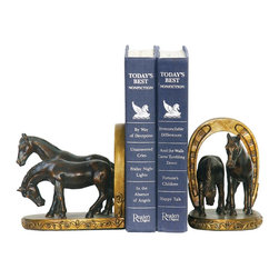 Sterling Industries - Sterling Industries Pair Horse And Horseshoe Bookends X-2602-19 - This Sterling Industries bookend set features four horses, two on each bookend, set against horseshoes that frame their stance. In different positions, these bronze-finished horses pop against their golden backdrop. A delightful addition to any horse enthusiast's shelf or other space.