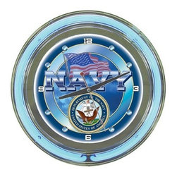 """Trademark Global US Navy Logo 14-in. Neon Wall Clock - Feeling blue? You wouldn't if you had the Trademark Global US Navy 14-in. Neon Wall Clock. While we can't guarantee that it will accelerate your life this standard wall clock with a bubble acrylic front cover adds fun to any room. It has a neon blue rim with a darker blue face. The background features the American flag the word """"""""Navy """""""" and a full-color U.S. Navy logo. Made with chrome-finished molded resin housing this standard analog-style clock is easy to read with its illuminated face. Precision quartz movement operates with one AA battery (included). Clock also includes 110-volt power supply for the neon lights. Show your patriotism and order now!"""