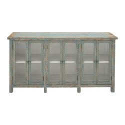 Benzara - Elegant and Beautiful Style Wood Glass Console Cabinet Home Decor - Description: