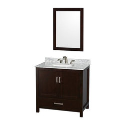 Wyndham Collection - Wyndham Collection WCS141436SES Sheffield 36-in. Single Bathroom Vanity Set with - Shop for Bathroom Cabinets from Hayneedle.com! The versatile style of the Wyndham Collection WCS141436SES Sheffield 36-in. Single Bathroom Vanity Set with Mirror - Espresso gives you pleasantly appealing lines that can easily find a home in any decor style. You can pick the material of your choice for the vanity top and undermount sink or you can even choose to skip the sink and vanity top altogether if you already have something in mind. The vanity top is pre-drilled to accept a single- or three-hole faucet and all sink options are pre-drilled for a standard drain connection. The matching mirror gives you the function and style that you need in a washroom. The body of this charming vanity is formed from solid wood that undergoes a 12-step process that results in an environmentally friendly low-VOC painted finish that's highly moisture-resistant. A single deep drawer slides on fully extendable metal glides and sits beneath a large open storage compartment that's covered by a pair of double doors. Both the drawer and doors close on soft-close latches.Product Dimensions:Mirror dimensions: 24W x 33H in.Vanity dimensions with top: 36W x 22D x 35H in. About the Wyndham CollectionWyndham and the Wyndham collection are all about refinement detailing uniqueness quality and longevity. They are dedicated to the quality of their products and own the factory where each piece is constructed. This allows Wyndham to offer products that reflect the rigorous quality standards required for every piece that is offered to their customers. The Wyndham collection showcases elegant modern design styles that highlight functionality and style in every detail.