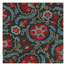 Navy & Red Suzani Washed Linen Fabric - Eclectic swirling suzani in berry red & aqua on navy blue linen.Recover your chair. Upholster a wall. Create a framed piece of art. Sew your own home accent. Whatever your decorating project, Loom's gorgeous, designer fabrics by the yard are up to the challenge!